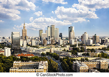 Warsaw downtown at afternoon sun. Aerial View.