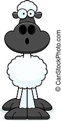Surprised Cartoon Sheep - A cartoon illustration of a sheep...