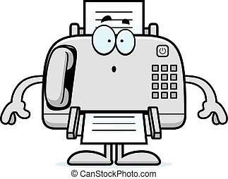 Surprised Cartoon Fax Machine - A cartoon illustration of a...