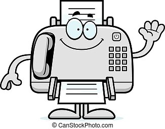 Cartoon Fax Machine Waving - A cartoon illustration of a fax...