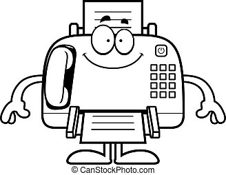 Happy Cartoon Fax Machine - A cartoon illustration of a fax...
