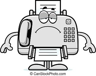 Sad Cartoon Fax Machine - A cartoon illustration of a fax...