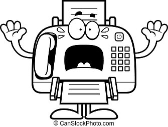 Scared Cartoon Fax Machine - A cartoon illustration of a fax...