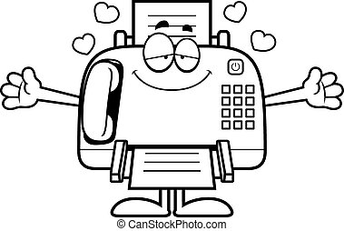 Cartoon Fax Machine Hug - A cartoon illustration of a fax...