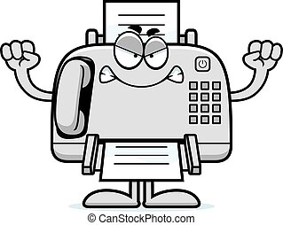 Angry Cartoon Fax Machine - A cartoon illustration of a fax...