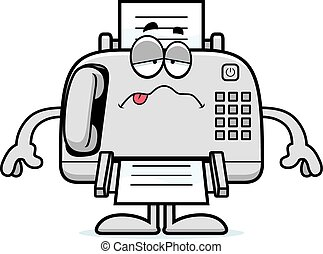 Sick Cartoon Fax Machine - A cartoon illustration of a fax...