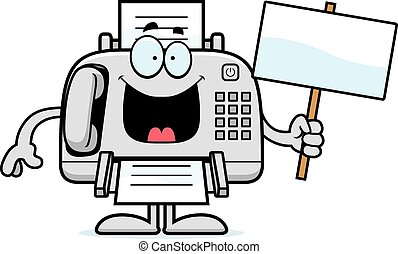 Cartoon Fax Machine Sign - A cartoon illustration of a fax...