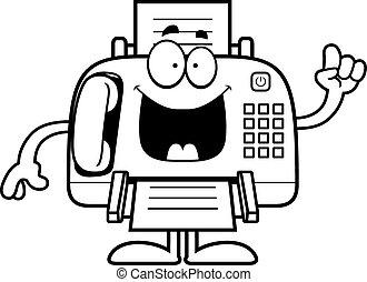 Cartoon Fax Machine Idea - A cartoon illustration of a fax...
