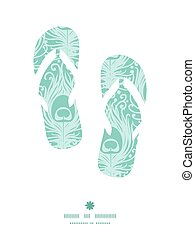 Vector soft peacock feathers flip flops silhouettes pattern frame