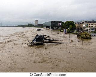 flood in 2013, linz, austria - flood 2013 linz, austria....