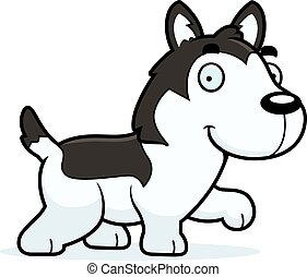 Cartoon Husky Walking - A cartoon illustration of a Husky...