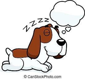 Cartoon Basset Hound Dreaming - A cartoon illustration of a...
