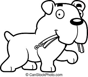 Cartoon Bulldog Leash - A cartoon illustration of a Bulldog...