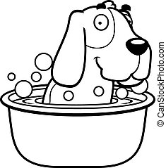 Cartoon Basset Hound Bath - A cartoon illustration of a...