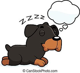 Cartoon Rottweiler Dreaming - A cartoon illustration of a...