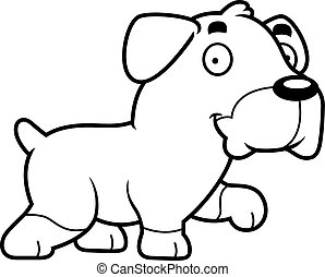 Cartoon Rottweiler Walking - A cartoon illustration of a...