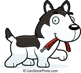 Cartoon Husky Leash - A cartoon illustration of a Husky...