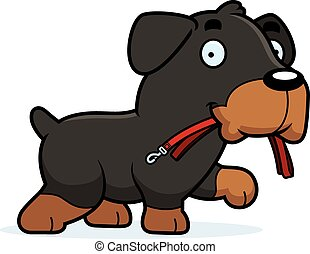Cartoon Rottweiler Leash - A cartoon illustration of a...