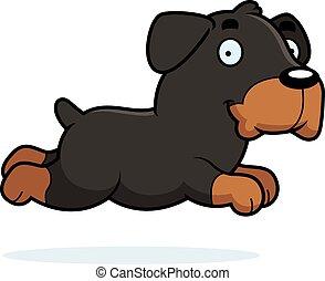 Cartoon Rottweiler Running - A cartoon illustration of a...