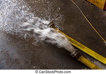 firefighting - fire brigade pumps a cellar, has entered the...