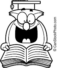 Cartoon Owl Reading - A cartoon illustration of an owl...