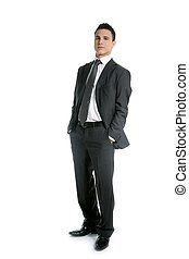 Businessman young stand up, full length on white background