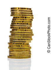 high stack of coins