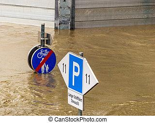 flood in 2013, linz, austria - flood 2013. linz, austria....