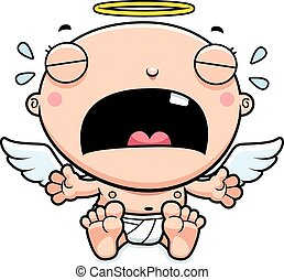 Cartoon Baby Angel Crying - A cartoon illustration of a baby...