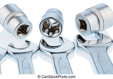open-end wrench and socket wrench icon photo for repair,...