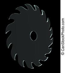 saw blade on black background - 3d illustration