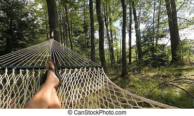 Summer Hammock. - POV shot of man relaxing in a hammock....