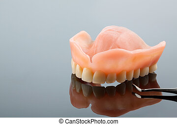 dentition and probe - teeth and mouth mirror, symbol photo...