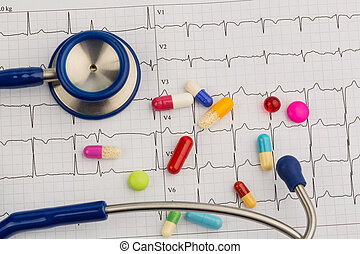 stethoscope and tablets on an ecg
