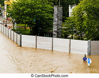 flood in 2013, linz, austria - flood 2013. linz, austria....