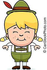 Smiling Cartoon Lederhosen Girl - A cartoon illustration of...