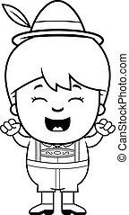 Celebrating Cartoon Lederhosen Boy - A cartoon illustration...