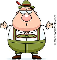 Cartoon Lederhosen Man Shrug - A cartoon illustration of a...