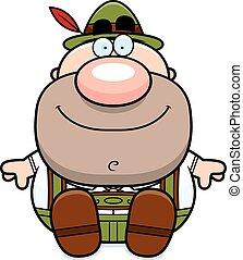 Cartoon Lederhosen Man Sit - A cartoon illustration of a...