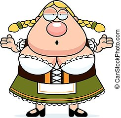 Cartoon Oktoberfest Woman Shrug - A cartoon illustration of...