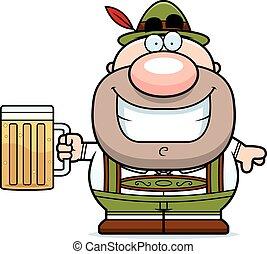 Cartoon Lederhosen Man Beer - A cartoon illustration of a...
