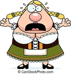 Cartoon Oktoberfest Woman Panic - A cartoon illustration of...