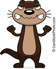 Angry Cartoon Otter - A cartoon illustration of an otter...