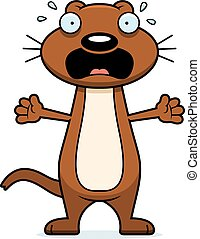 Scared Cartoon Weasel - A cartoon illustration of a weasel...
