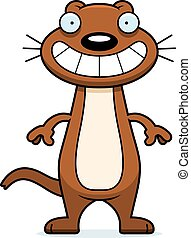 Happy Cartoon Weasel - A cartoon illustration of a weasel...