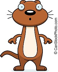 Surprised Cartoon Weasel - A cartoon illustration of a...