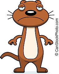 Sad Cartoon Weasel - A cartoon illustration of a weasel...