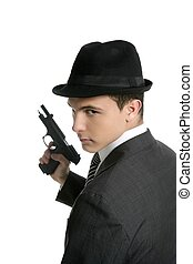 classique, mafia, portrait, homme, noir, complet, fusil