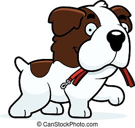 Cartoon Saint Bernard Leash - A cartoon illustration of a...