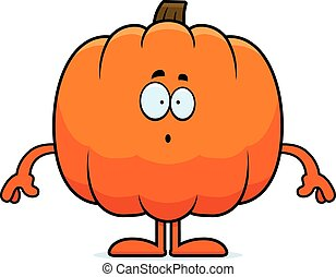 Surprised Cartoon Pumpkin - A cartoon illustration of a...